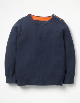 Beacon Blue Slub Textured Crew Sweater