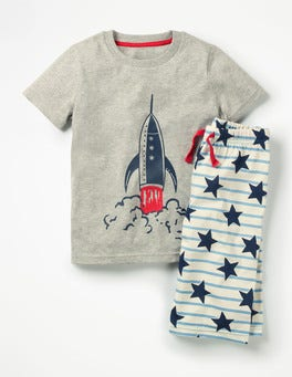 Grey Marl/Duke Blue Rocket Graphic Pyjama Set