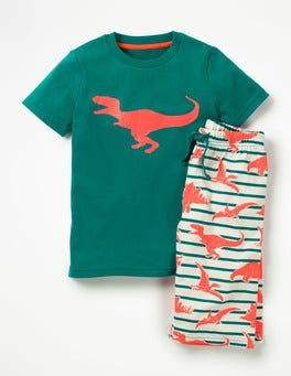 Moringa Green/Ecru Dinosaur Graphic Pyjama Set