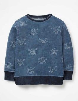 Mid Indigo Blue Skulls Castaway Sweatshirt