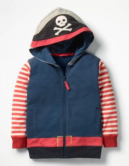 Beacon Blue Pirate Novelty Zip-up Hoodie