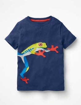 Beacon Blue Treefrog Animal Appliqué T-shirt