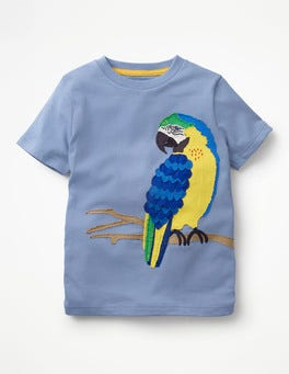 Hook Blue Parrot Animal Appliqué T-shirt