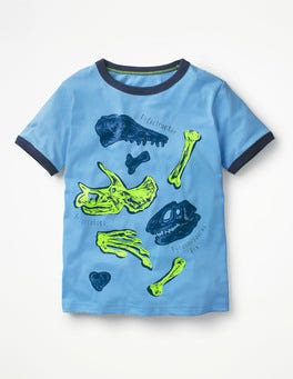 Surfboard Blue Dino Educational Graphic T-shirt