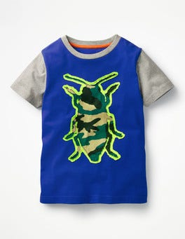 Orion Blue Beetle Patchwork Animal T-shirt
