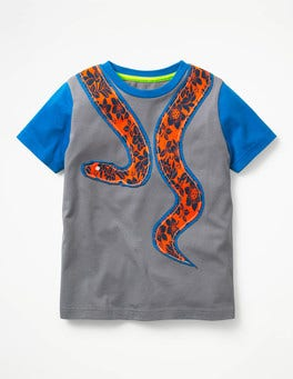 Raft Grey Snake Patchwork Animal T-shirt