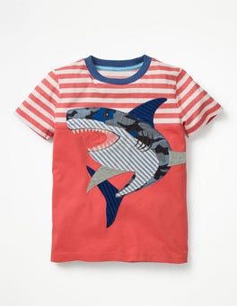 Jam Red/Ecru Shark Stripy Appliqué T-shirt