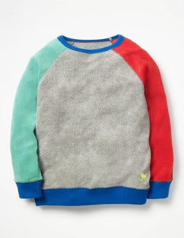 Grey Marl/Aloha Green Towelling Sweatshirt