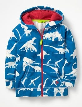 Yogo Blue Dinos Towelling Zip-up Hoodie