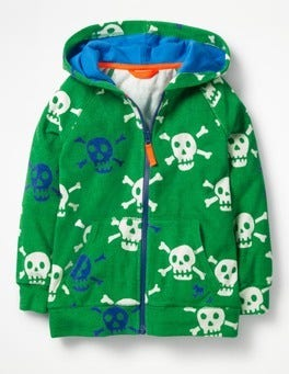 Runner Bean Green Skulls Towelling Zip-up Hoodie