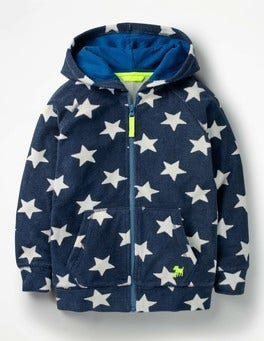 School Navy/Ecru Star Towelling Zip-up Hoodie