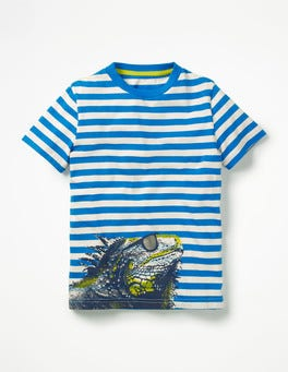 Yogo Blue/Ecru Iguana Arty Graphic T-shirt
