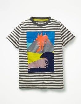Charcoal Marl/Ecru Volcano Arty Graphic T-shirt