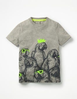 Grey Marl Parrots Arty Graphic T-shirt
