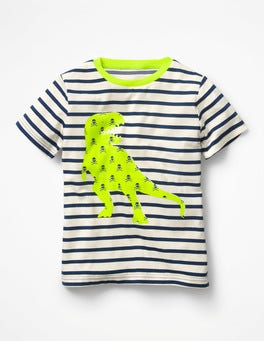 Ecru/Beacon Blue Dino Neon Pop Breton T-shirt