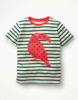 Ecru/Moringa Green Toucan Neon Pop Breton T-shirt