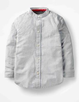Ecru/Beacon Blue Grandad Collar Shirt
