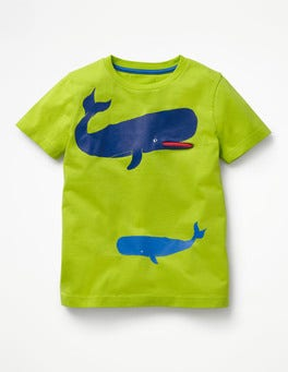 Chartreuse Yellow Whales Sea Animal Pocket T-shirt