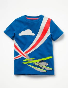 Yogo Blue Seaplane Action Appliqué T-shirt