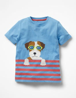 Surfboard Blue Swimming Sprout Paddling Pal Appliqué T-shirt