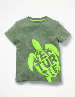 Bamboo Green Sea Turtle Fluoro Graphic T-shirt