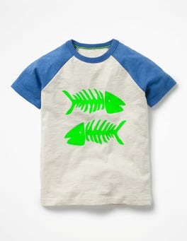 Ecru/Yogo Blue Fish Summer Raglan T-shirt