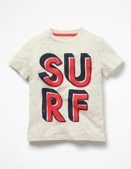 Ecru Surf Printed Type T-shirt