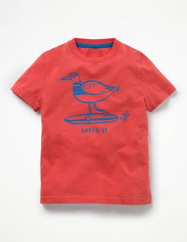 Jam Red Surfing Seagull Surf Dude Graphic T-shirt