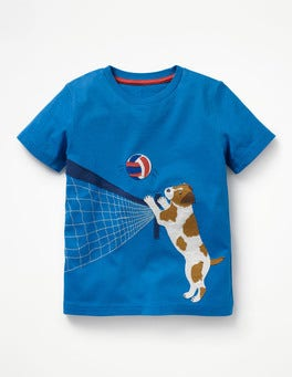 Yogo Blue Volleyball Beach Sports Appliqué T-shirt