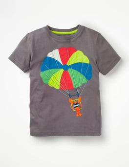 Raft Grey Parasailing Beach Sports Appliqué T-shirt