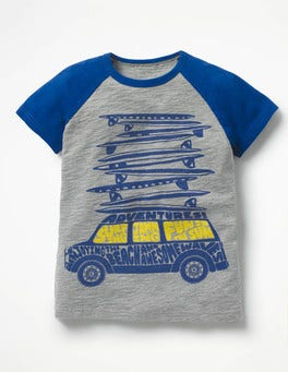 Grey Marl/Orion Blue Car Road Trip Graphic T-shirt