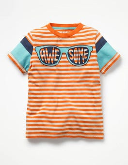 Tangerine Orange/Ecru Wordle Word Up Graphic T-shirt