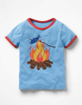 Surfboard Blue Campfire Tipped Appliqué T-shirt