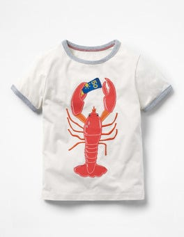 Ecru Hot Lobster Tipped Appliqué T-shirt