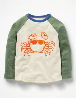 Ecru/Bamboo Green Crab Long-Sleeved Raglan T-shirt
