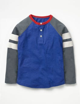 Orion Blue/Cobble Grey Sporty Stripe Raglan Henley
