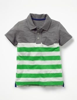 Raft Grey/Toucan Green Slub Jersey Polo Shirt