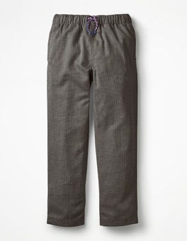 Grey Herringbone Smart Pull-on Trousers