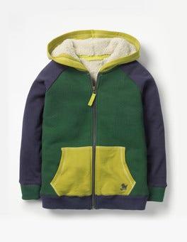 Scots Pine Green Colourblock Raglan Shaggy Hoodie