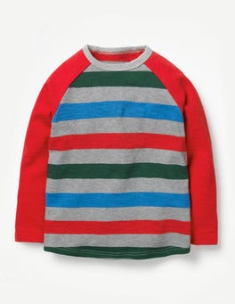 Grey Marl/Post Box Red Raglan T-shirt