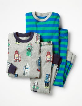 Grey Marl Retro Robots Twin Pack Long John Pajamas