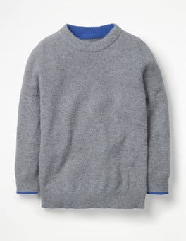 Grey Marl Cashmere Crew Sweater