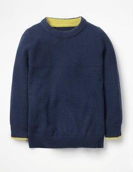 School Navy Cashmere Crew Sweater