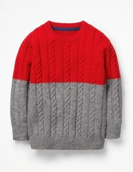 Colourblock Cable Crew Jumper