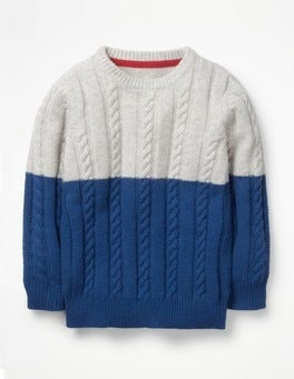 Pearl White/Ocean Blue Colourblock Cable Crew Jumper