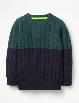 Pine Forest Green/School Navy Colourblock Cable Crew Sweater