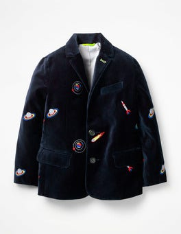 Navy Space Embroidery Embroidered Party Blazer