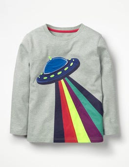 Grey Marl UFO Space Appliqué T-shirt