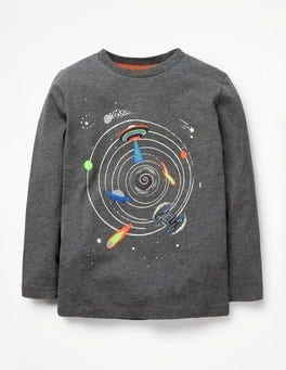 Charcoal Marl Outer Space Glow-in-the-dark Space T-shirt