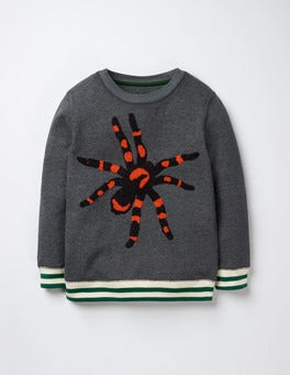 Grey Marl Bouclé Spider Spooky Sweatshirt